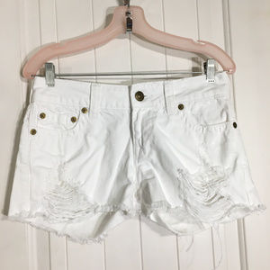 True Religion Keira White Denim Distressed Shorts